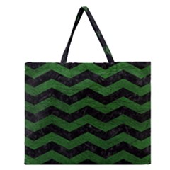 CHEVRON3 BLACK MARBLE & GREEN LEATHER Zipper Large Tote Bag