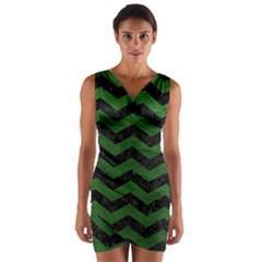 CHEVRON3 BLACK MARBLE & GREEN LEATHER Wrap Front Bodycon Dress