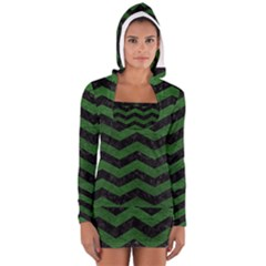 CHEVRON3 BLACK MARBLE & GREEN LEATHER Long Sleeve Hooded T-shirt