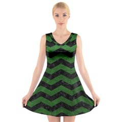 CHEVRON3 BLACK MARBLE & GREEN LEATHER V-Neck Sleeveless Skater Dress