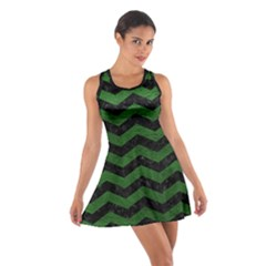 CHEVRON3 BLACK MARBLE & GREEN LEATHER Cotton Racerback Dress
