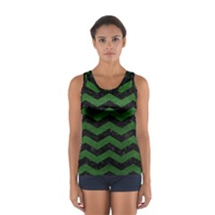 CHEVRON3 BLACK MARBLE & GREEN LEATHER Sport Tank Top