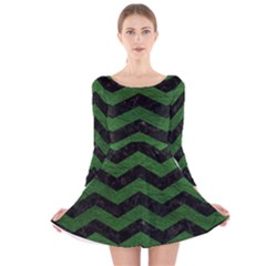 CHEVRON3 BLACK MARBLE & GREEN LEATHER Long Sleeve Velvet Skater Dress