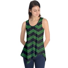 CHEVRON3 BLACK MARBLE & GREEN LEATHER Sleeveless Tunic