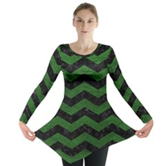 CHEVRON3 BLACK MARBLE & GREEN LEATHER Long Sleeve Tunic