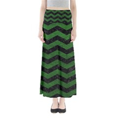 CHEVRON3 BLACK MARBLE & GREEN LEATHER Full Length Maxi Skirt