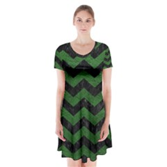 CHEVRON3 BLACK MARBLE & GREEN LEATHER Short Sleeve V-neck Flare Dress