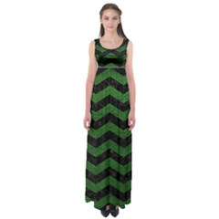 CHEVRON3 BLACK MARBLE & GREEN LEATHER Empire Waist Maxi Dress