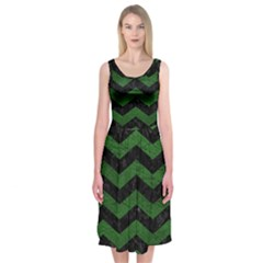 CHEVRON3 BLACK MARBLE & GREEN LEATHER Midi Sleeveless Dress