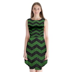 CHEVRON3 BLACK MARBLE & GREEN LEATHER Sleeveless Chiffon Dress