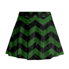 CHEVRON3 BLACK MARBLE & GREEN LEATHER Mini Flare Skirt