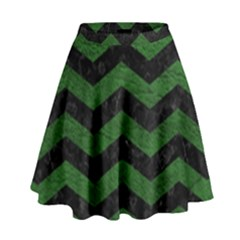 CHEVRON3 BLACK MARBLE & GREEN LEATHER High Waist Skirt