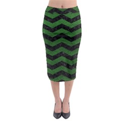 CHEVRON3 BLACK MARBLE & GREEN LEATHER Midi Pencil Skirt