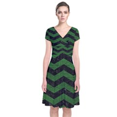 CHEVRON3 BLACK MARBLE & GREEN LEATHER Short Sleeve Front Wrap Dress
