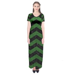 CHEVRON3 BLACK MARBLE & GREEN LEATHER Short Sleeve Maxi Dress