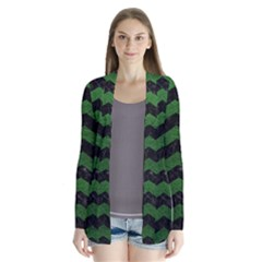 CHEVRON3 BLACK MARBLE & GREEN LEATHER Drape Collar Cardigan