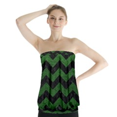 CHEVRON3 BLACK MARBLE & GREEN LEATHER Strapless Top