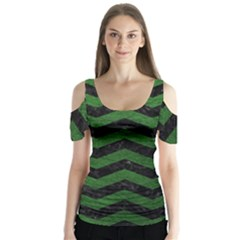 CHEVRON3 BLACK MARBLE & GREEN LEATHER Butterfly Sleeve Cutout Tee