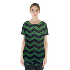 CHEVRON3 BLACK MARBLE & GREEN LEATHER Skirt Hem Sports Top