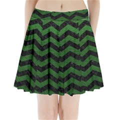 CHEVRON3 BLACK MARBLE & GREEN LEATHER Pleated Mini Skirt