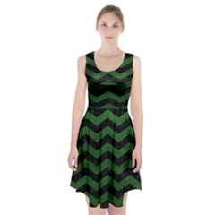 CHEVRON3 BLACK MARBLE & GREEN LEATHER Racerback Midi Dress