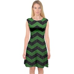 CHEVRON3 BLACK MARBLE & GREEN LEATHER Capsleeve Midi Dress
