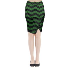 CHEVRON3 BLACK MARBLE & GREEN LEATHER Midi Wrap Pencil Skirt