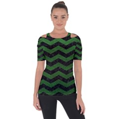 CHEVRON3 BLACK MARBLE & GREEN LEATHER Short Sleeve Top