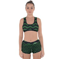 CHEVRON3 BLACK MARBLE & GREEN LEATHER Racerback Boyleg Bikini Set