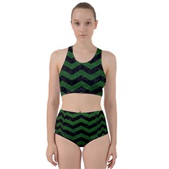 CHEVRON3 BLACK MARBLE & GREEN LEATHER Racer Back Bikini Set