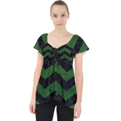 CHEVRON3 BLACK MARBLE & GREEN LEATHER Lace Front Dolly Top