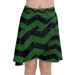 CHEVRON3 BLACK MARBLE & GREEN LEATHER Chiffon Wrap