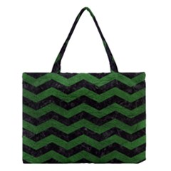 CHEVRON3 BLACK MARBLE & GREEN LEATHER Medium Tote Bag