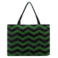 CHEVRON3 BLACK MARBLE & GREEN LEATHER Zipper Medium Tote Bag