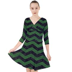 CHEVRON3 BLACK MARBLE & GREEN LEATHER Quarter Sleeve Front Wrap Dress