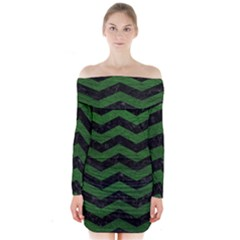 CHEVRON3 BLACK MARBLE & GREEN LEATHER Long Sleeve Off Shoulder Dress
