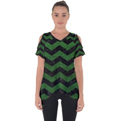 CHEVRON3 BLACK MARBLE & GREEN LEATHER Cut Out Side Drop Tee
