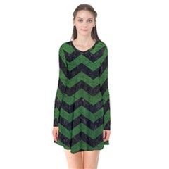CHEVRON3 BLACK MARBLE & GREEN LEATHER Flare Dress