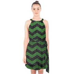 CHEVRON3 BLACK MARBLE & GREEN LEATHER Halter Collar Waist Tie Chiffon Dress