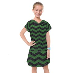 CHEVRON3 BLACK MARBLE & GREEN LEATHER Kids  Drop Waist Dress