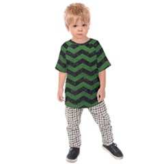 CHEVRON3 BLACK MARBLE & GREEN LEATHER Kids Raglan Tee