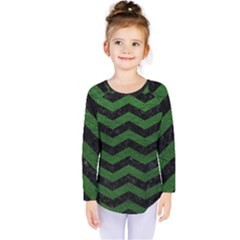 CHEVRON3 BLACK MARBLE & GREEN LEATHER Kids  Long Sleeve Tee