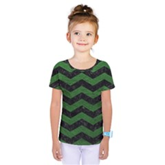 CHEVRON3 BLACK MARBLE & GREEN LEATHER Kids  One Piece Tee