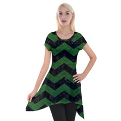 CHEVRON3 BLACK MARBLE & GREEN LEATHER Short Sleeve Side Drop Tunic