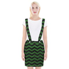 CHEVRON3 BLACK MARBLE & GREEN LEATHER Braces Suspender Skirt