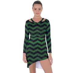 CHEVRON3 BLACK MARBLE & GREEN LEATHER Asymmetric Cut-Out Shift Dress