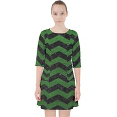 CHEVRON3 BLACK MARBLE & GREEN LEATHER Pocket Dress