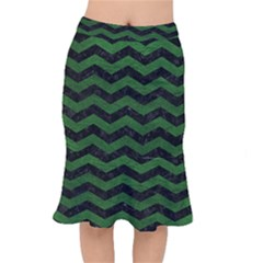 CHEVRON3 BLACK MARBLE & GREEN LEATHER Mermaid Skirt