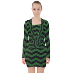 CHEVRON3 BLACK MARBLE & GREEN LEATHER V-neck Bodycon Long Sleeve Dress