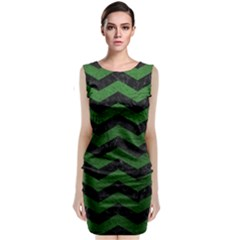 CHEVRON3 BLACK MARBLE & GREEN LEATHER Sleeveless Velvet Midi Dress